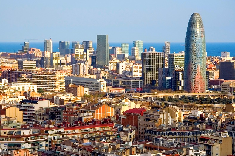 Spain tour - bird eye view of Agbar Tower in Barcelona - vacation travel photos
