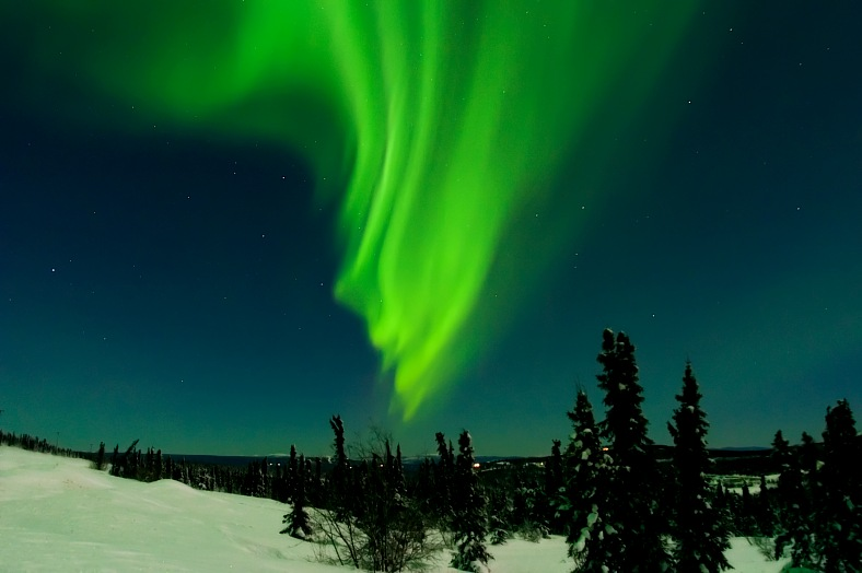 Alaska tours. X class solar flare induced aurora on Cleary Summit, north of Fairbanks. Alaska travel - vacation travel photos