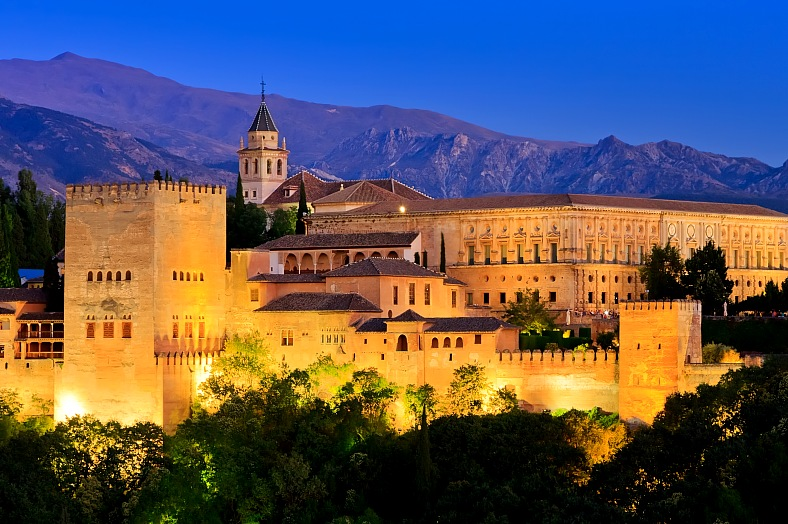 Spain travel - Alhambra palace at night, Granada. Europe tours, Spain vacations - vacation travel photos