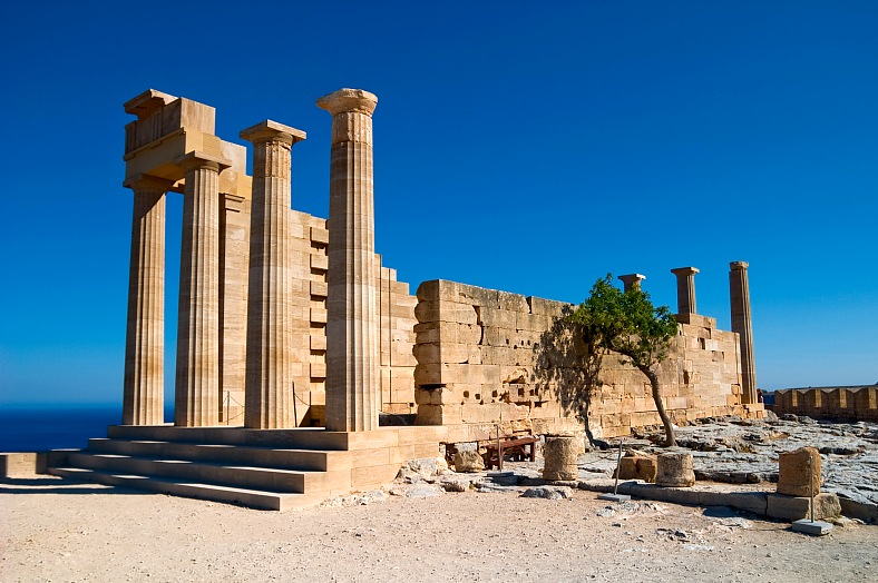 Europe tours - ancient Greece temple in Lindos. Rhodes island. Greece travel - vacation travel photos