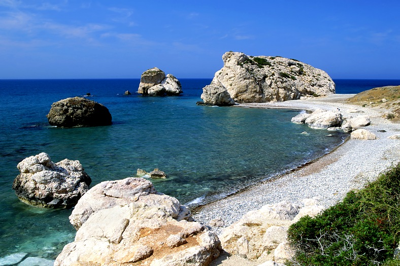 Cyprus holidays. Aphrodite birthplace on the island of Cyprus - Petra tou Romiou (The rock of the Greek). Aphrodite legendary birthplace in Paphos. Vacation Cyprus.