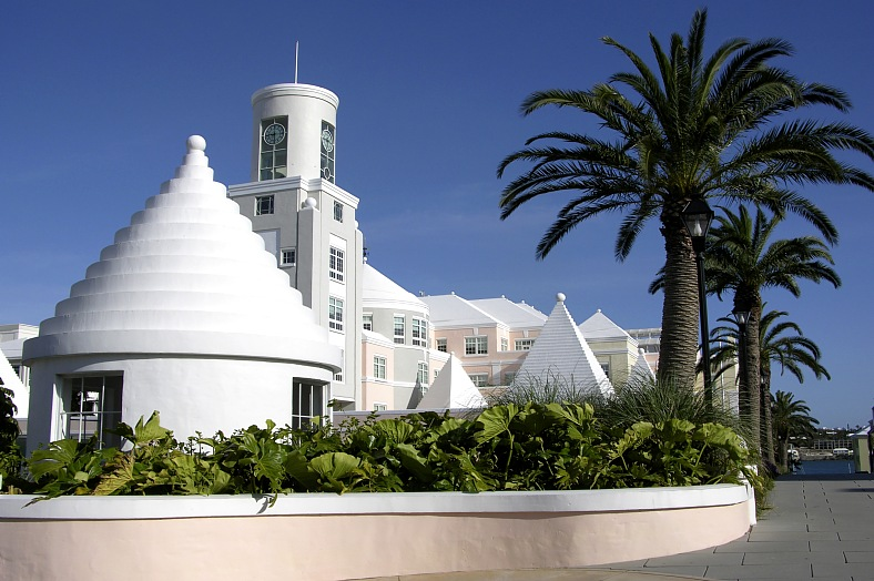 Bermuda tours. White and joyful architecture of the Bermudas capital Hamilton. Bermuda travel.