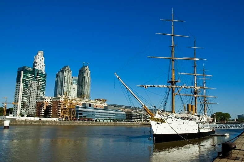 Argentina vacations. Old frigate in the Buenos Aires harbor. Neighborhood of Puerto Madero. Argentina tours.
