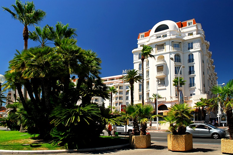 Cannes tours. Luxury hotels. The Promenade de la Croisette aka Boulevard de la Croisette. Cannes vacations. France tourism.