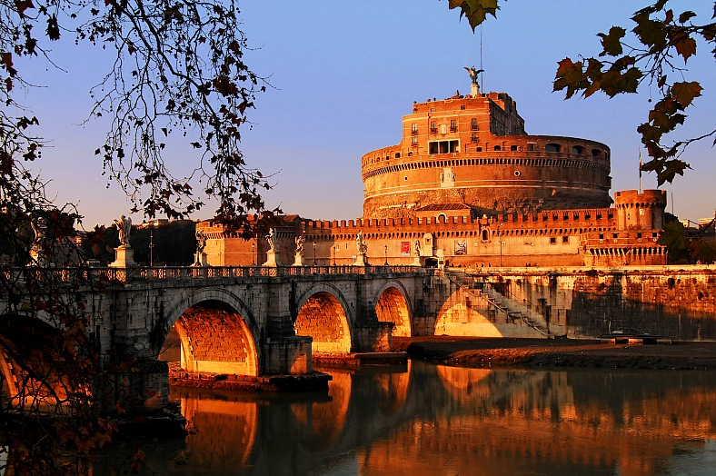 Italy travel. Landscape view of Castel SantAngelo in Rome. Italy tours.