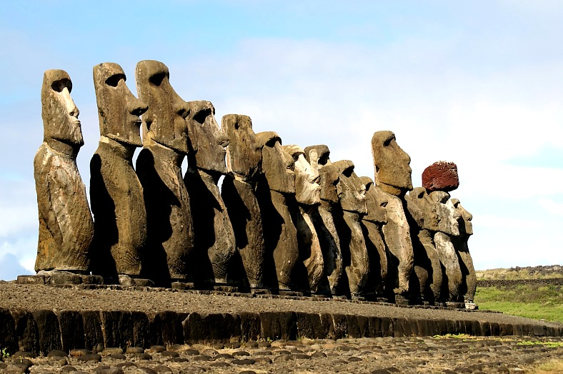 Easter Island travel Chile. Fifteen moais of different sizes. Easter island tourism Chile.