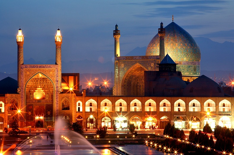 Esfahan travel Iran. Amazing night view of Esfahan. World history heritage - famous Naqsh-i Jahan Square in Isfahan.