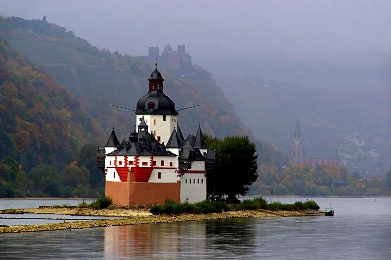 Germany travel. Island and castle Pfalzgrafenstein in the river Rhine. Germany tours.