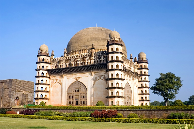 India travel - Gol Gumbaz mosque in the ancient town Bijapur, Karnataka state. India tours - vacation travel photos