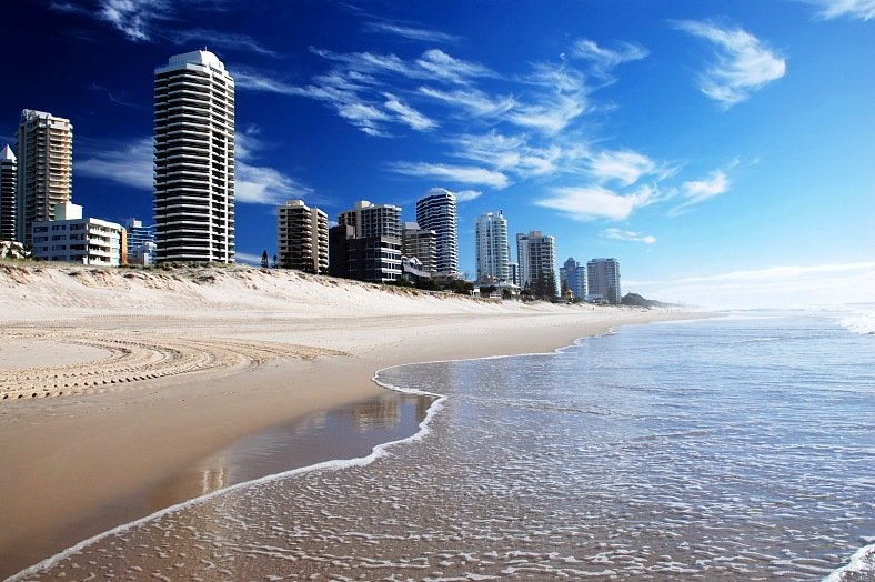 Gold Coast vacations. Surfers paradise beach on Goldcoast. Queensland travel, Australia tours.