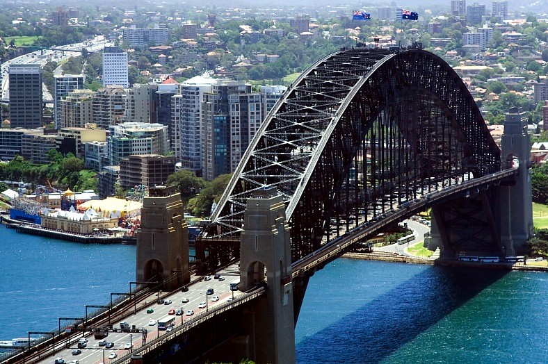 Sydney trip. North Sydney city harbor bridge close-up top view. Australia tours.