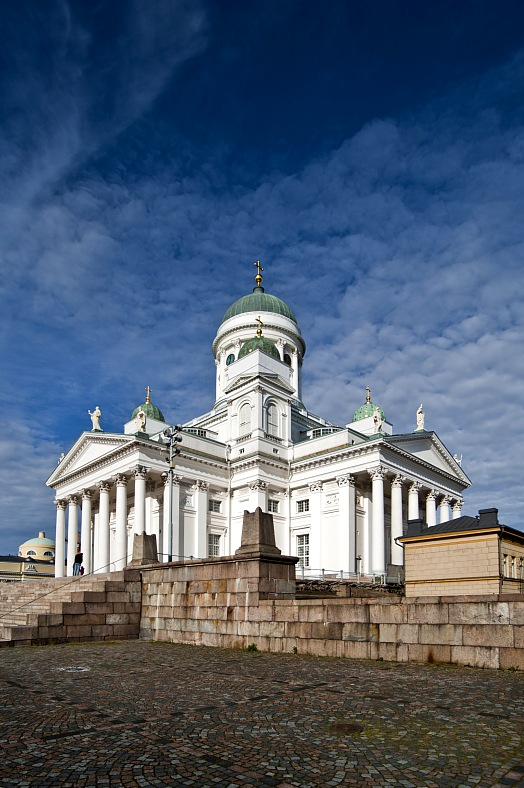 Finland tourism. Main cathedral of Helsinki. Sunny autumn day. Helsinki tourism Finland.