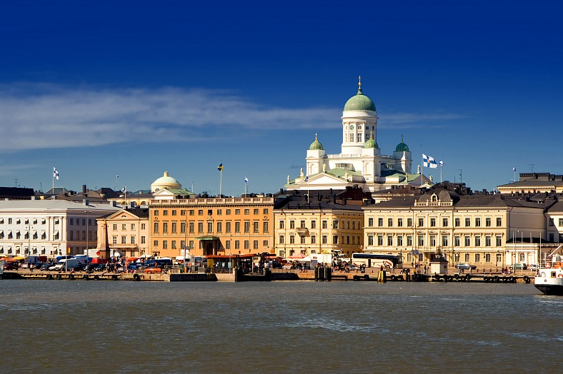 Helsinki tourism Finland. Helsinki harbour. View of Helsinki from the sea. Finland tours.