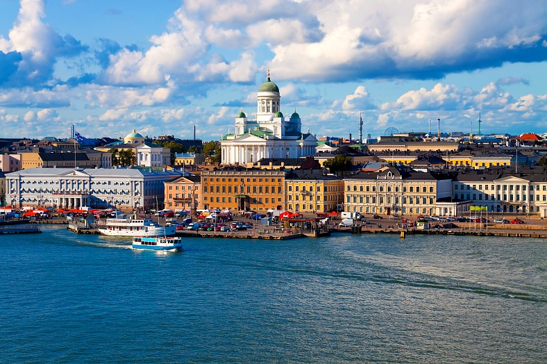 Summer panorama of Helsinki. Finland tourism. Beautiful summer view of historical center of the Finnish capital. Finland tours.