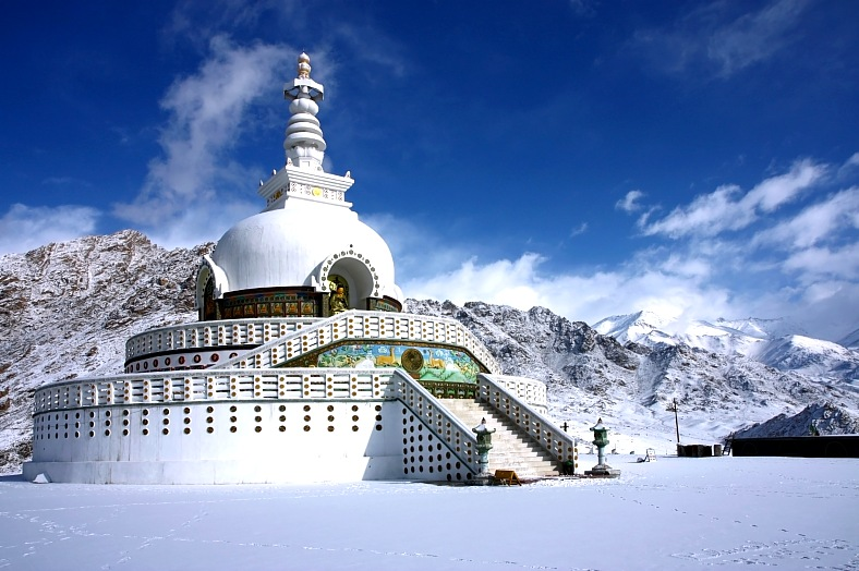 India tourism. Shanti stupa in winter Leh, Ladakh. India vacations.