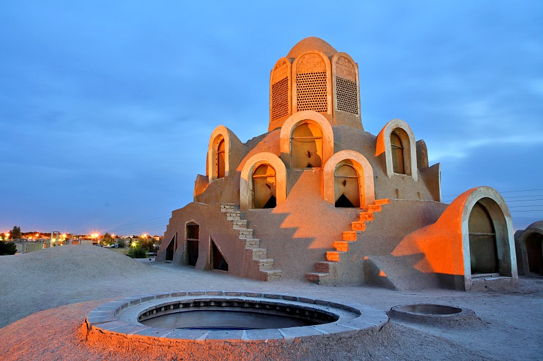 Iran travel. Wind Tower, Borujerdi House, Kashan. Iran tourism.