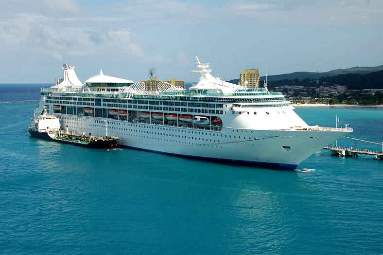 Jamaica tours Ocho Rios. Large cruise ship being refueled. Ocean liner Ocho Rios Jamaica cruise.