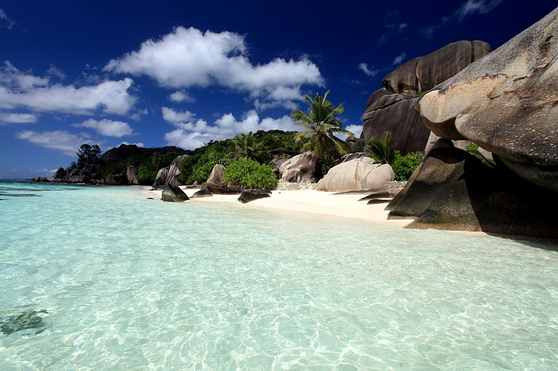 Seychelles holidays. La Digue island. Seychelles seascape. Granite stones and ocean. Anse dArgent Seychelles vacation