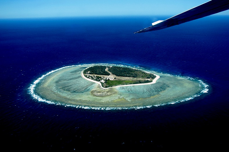 Australia flights. Photo of Lady Elliot Island in Queensland, Australia from an airplane. Australia travel - vacation travel photos