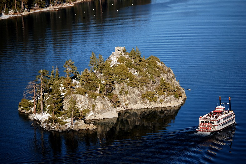 Lake Tahoe resorts. Emerald Bay. A view of Fannette Island in Emerald Bay, on the southwest side of Lake Tahoe.