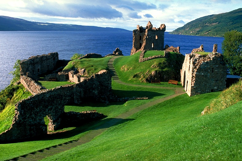 Loch Ness tours, Scotland. Castle by Loch Ness. Scotland tourism.