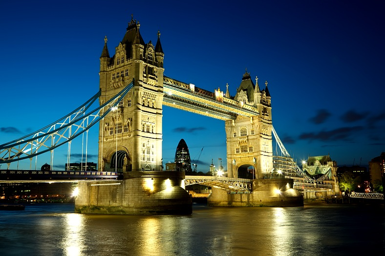 London tours. Tower Bridge from the North Bank of the River Thames. London, UK Tours