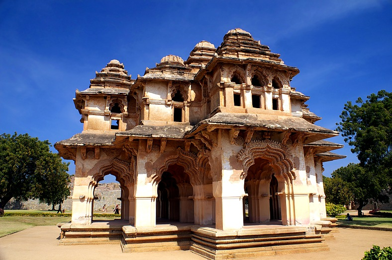 India tours. Lotus mahal of Zanana Enclosure at ancient town Hampi, Karnataka. India travel - vacation travel photos