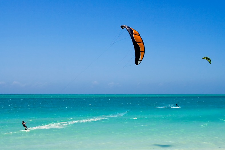 Kitesurfing in the lagoon. Madagascar travel.