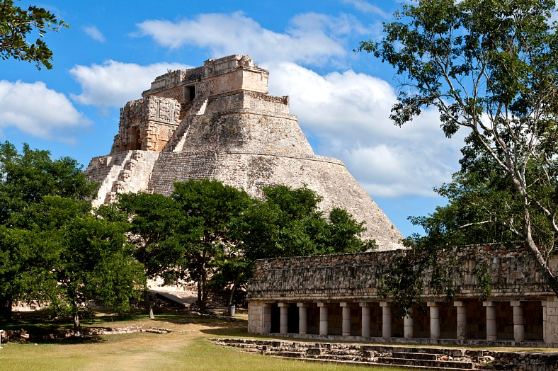 Mexico travel. Anicent mayan pyramid (Pyramid of the Magician, Adivino ) in Uxmal, Merida, Yucatan. Mexico vacations.