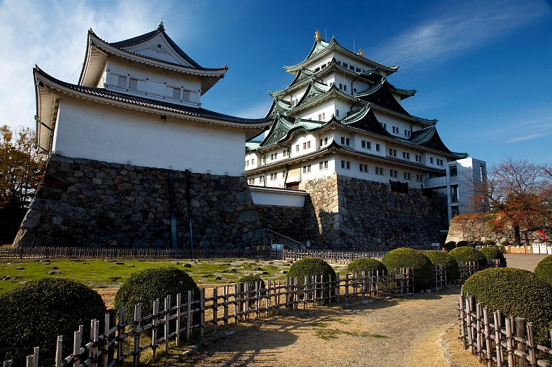 Japan travel. View of Nagoya Castle under blue sky. Japan tours