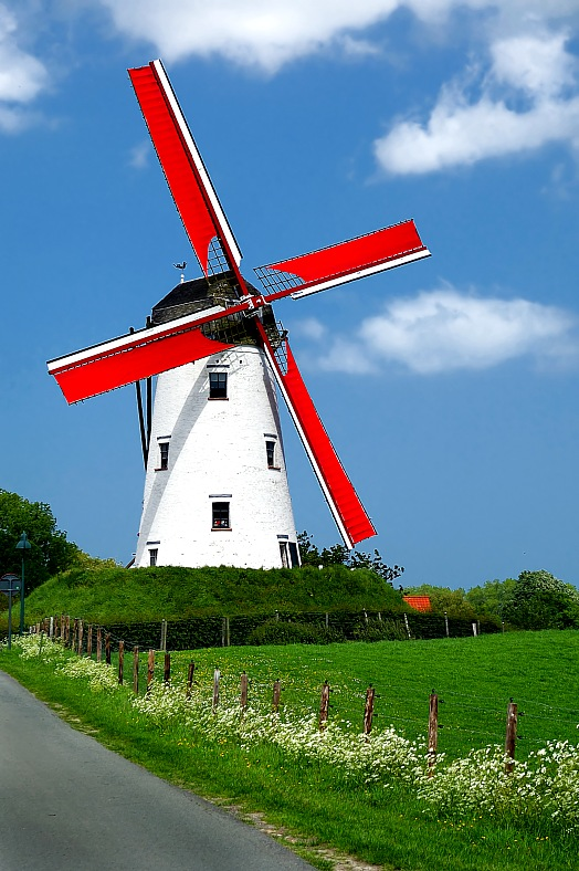 Netherlands tourism. Traditional windmill with red vanes in the Holland countryside. Amsterdam tourism.