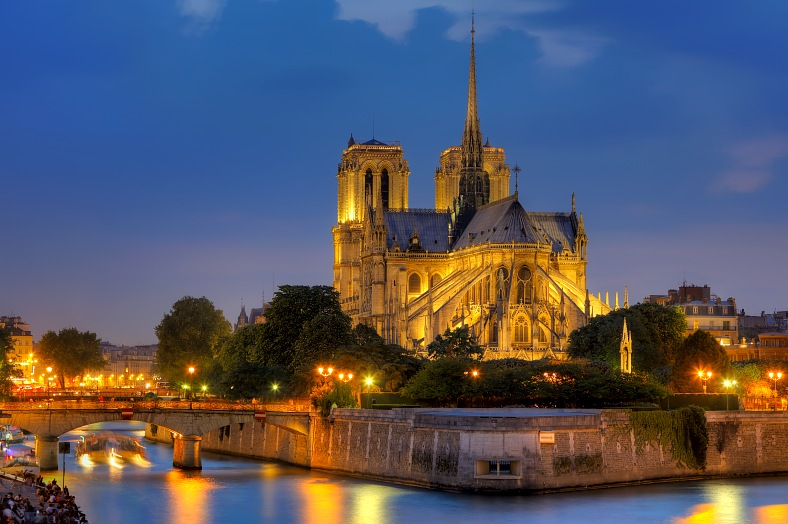 France travel - Notre Dame de Paris at night. France tours