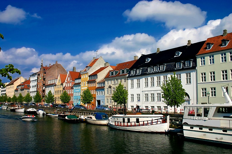 Denmark tours Copenhagen Nyhavn. Port bars and recreation area. Nyhavn Copenhagen tourism Denmark.