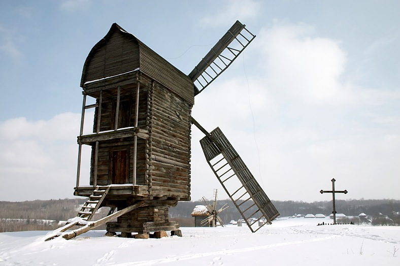 Old wooden windmills - vacation travel photos