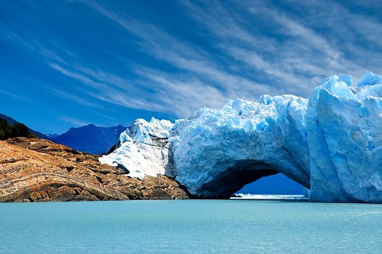 Argentina tourism. Bridge of ice in Perito Moreno glacier. Patagonia tours Argentina.
