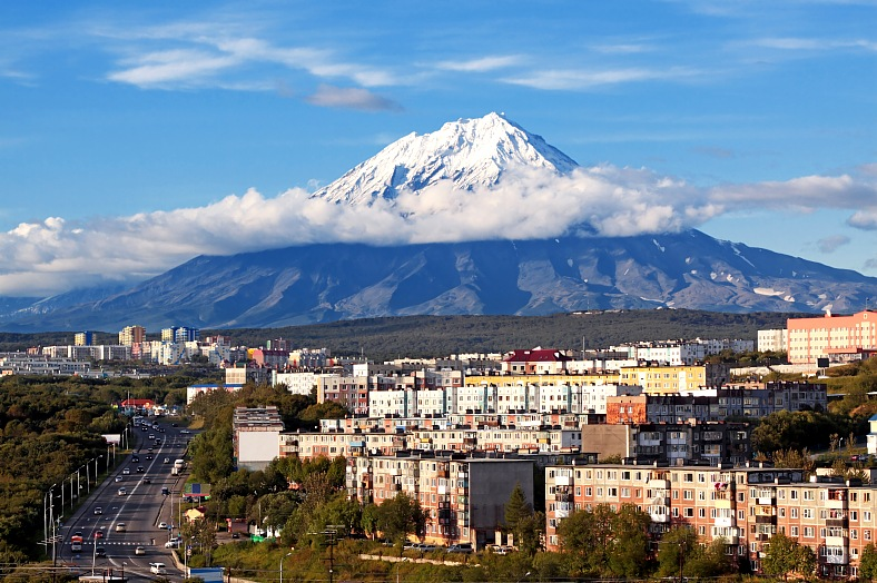 Russia tours. Petropavlovsk-Kamchatsky, Russia Far East. City landscape of Petropavlovsk-Kamchatsky and Koryaksky volcano. Siberia travel.