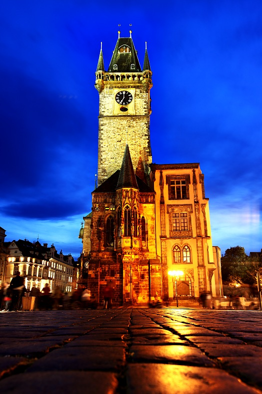 Prague vacations. City hall at the Old Town Square. Prague tours. Chech republic travel.