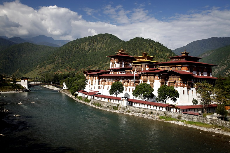 Bhutan vacation. Punakha Dzong, placed between two rivers. Bhutan travel.