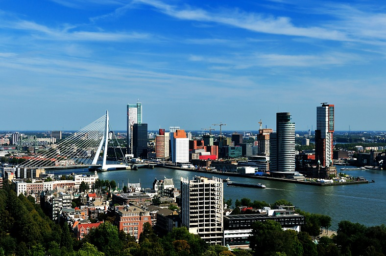 Holland travel. Aerial view of Rotterdam in the Netherlands. Europe tours. Holland tourism.