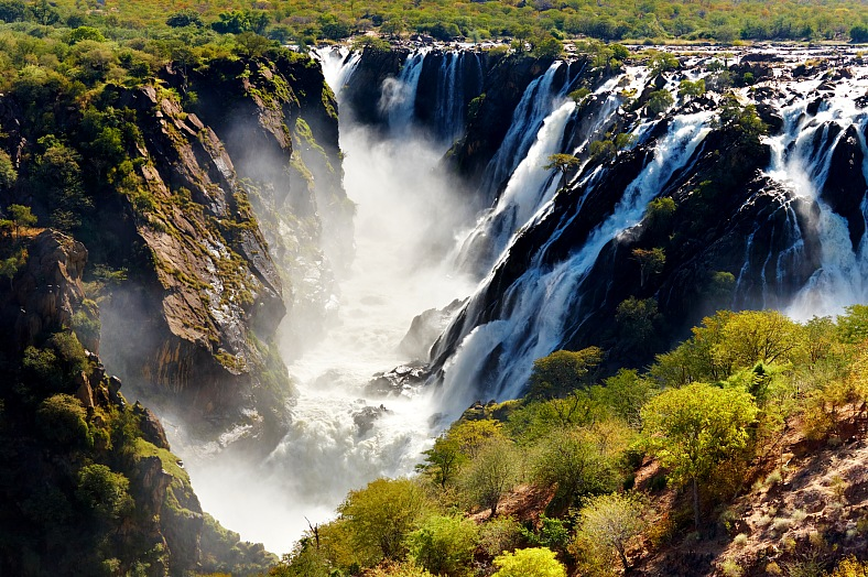 Africa travel. Ruacana Falls, border of Angola and Namibia. Africa tours