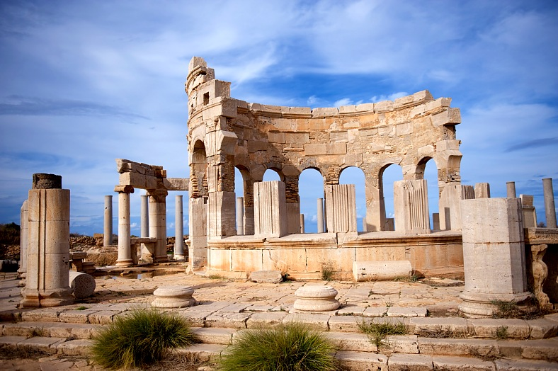 The main gate to the spectacular ruins of Leptis Magna near Al Khums, Libya.