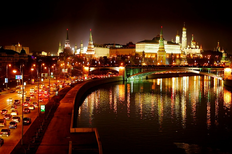 Russia tours. Moscow Kremlin night view. Russia vacations.
