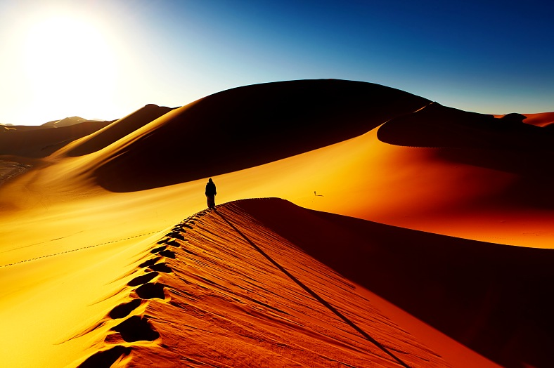 Africa travel. Sand dune climbing at sunrise, Sahara Desert, Algeria - vacation travel photos