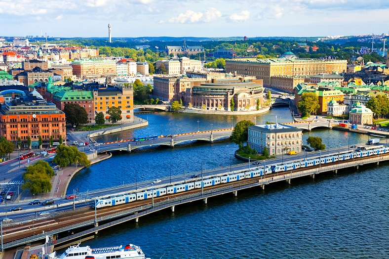 Sweden tours. Scenic summer aerial panorama of Stockholm. Sweden tourism.