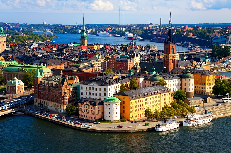 Stockholm trip. Sweden tours. Scenic summer panorama of the Old Town in Stockholm. Sweden vacation.