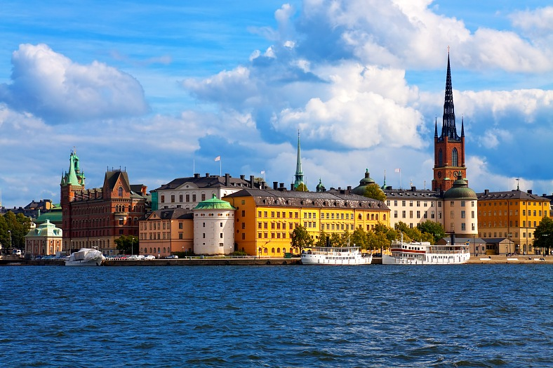 Sweden vacation. Scenic summer panorama of the Old Town (Gamla Stan) in Stockholm. Sweden tours.