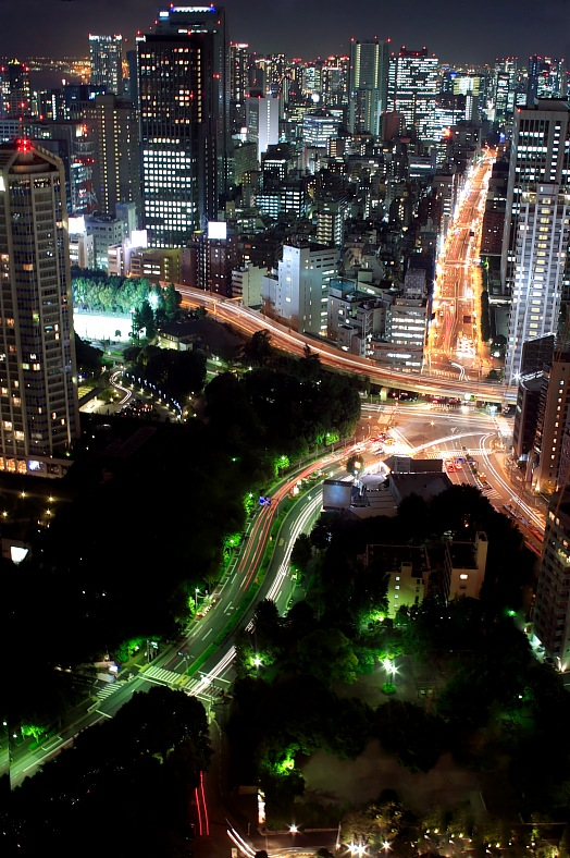 Japan travel. Night view. Tokyo tours.
