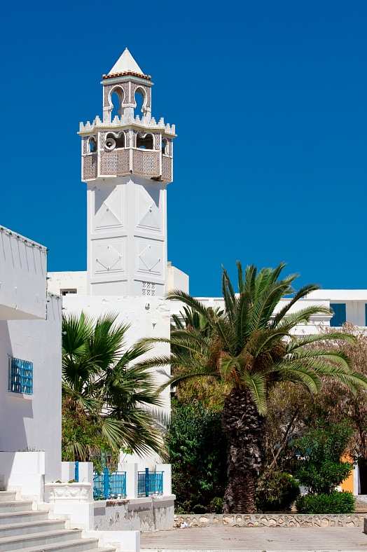Tunis tours. Mosque in classical national style, Mahdia. Tunisia travel