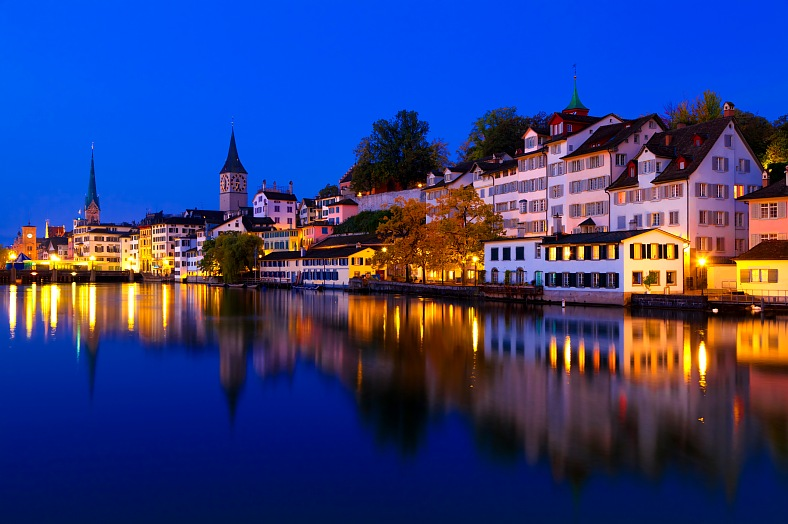 Switzerland resorts. Swiss city Zurich shortly before dawn. Travel Switzerland.