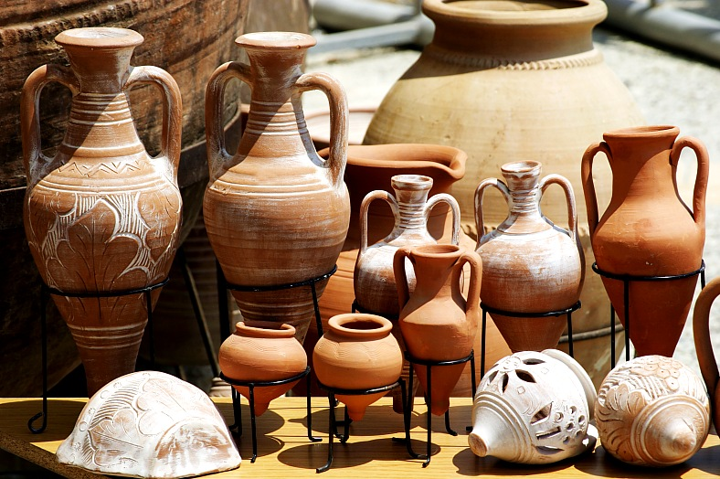 Cyprus holidays. Tradiotional greek clay pots on display. Greece tourism.